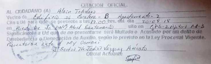 Citacón policial al Pastor Alain Toledano
